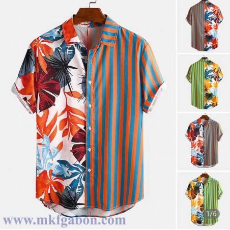 """Chemise """"Hawaï"""" - Motif à'' Rayures & Feuillages''"""