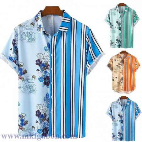 Chemise ''Hawaï'' - Motif à ''Rayures et Feuillages''