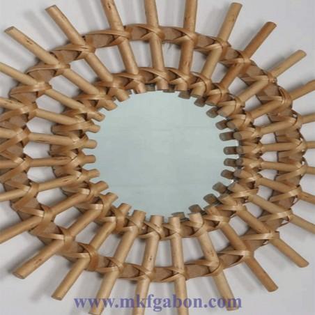 Miroir décoratif en rotin - Forme soleil